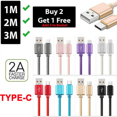 Heavy Duty Metal Braided USB TYPE-C 2A Fast Charge Cable 1M 2M 3M Samsung Huawei