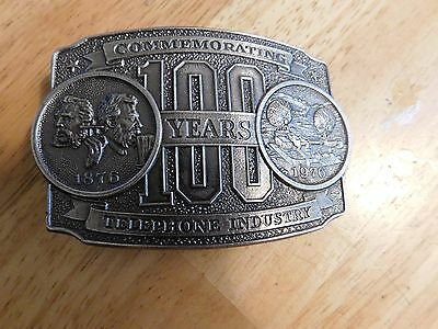 Vintage Limited Edition 100 Years 1876-1976 Telephone Industry Brass Belt Buckle
