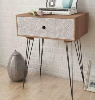 Norden Home Finch 1 Drawer Bedside Table Brown Wooden Top Black Metal Legs