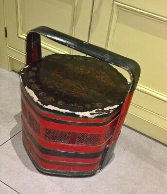 19th C Chinese vintage bamboo cinnabar lacquered 2 tier wedding basket - large