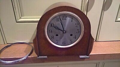British made oak cased chiming clock - working
