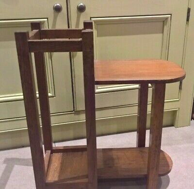 Vintage oak umbrella/stick hall stand with side table/seat - unusual