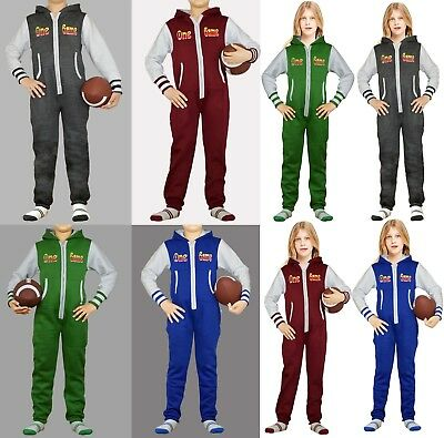 New Boys Girls Kids Fleece Hoodie Jumpsuit One Piece Pajamas Non Footed