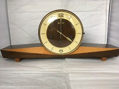 VINTAGE 1940/50s German JUNGHANS WESTMINSTER MANTLE CLOCK art deco style working