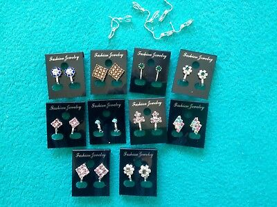 JOBLOT-10 pairs of different styles CLIP ON crystal/colour diamante earrings.