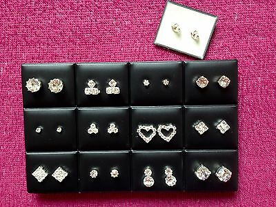 JOBLOT-12 pairs of different styles crystal  diamante stud earrings.Silver plate