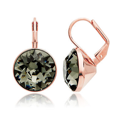 64aebc6cd Bella Earrings with 8.5 Carat Swarovski Black Diamond Crystals Rose Gold  Plated