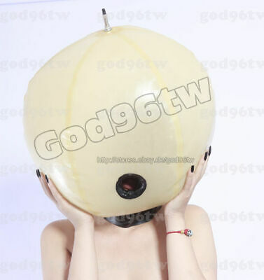 100% Latex Rubber Gummi Inflatable Ball Mask Hood 0.8mm  costume catsuit