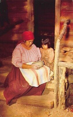 Postcard Native American Indian Cherokee Woman Making Pottery Little Girl Smoky