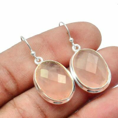Faceted-Rose Quartz Solid 925 Sterling Silver Earring Jewelry SE-13690