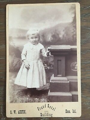 Vtg Cabinet Card Photo Cute Little Girl Cemetery Grave Stone Death Knox Indiana