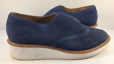 c15aab5dfb7 Halogen By Nordstrom Navy Nubuck Leather Leigh Loafers Womens Size US 9M