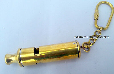 Solid Brass Conductor Whistle Key Chain Collectible Nautical Marine Gift Item