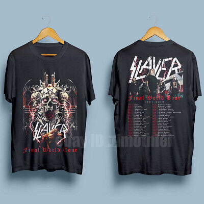 New SLAYER Last Final World Tour 2019 with dates Men's Black T-Shirt Size S-XXL