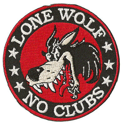 Patch écusson blason patche Lone Wolf no Clubs biker thermocollant