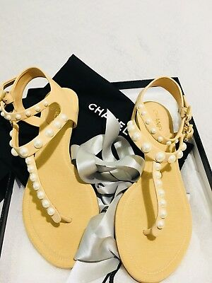 5049fcf3273d Chanel Pearl Cc Logo T Strap Leather Flat Thong Sandals Shoes Size 35