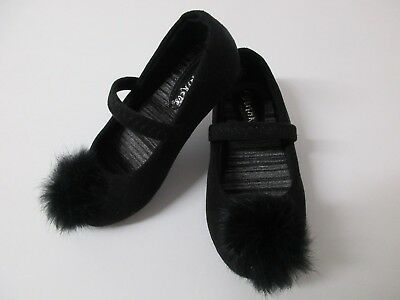 Trinkets Toddler Shoes Girls 4M Black Slip On Faux Fur Feather Pompom Holiday