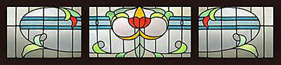3 Antique Stained Glass Windows ART NOUVEAU TREASURE
