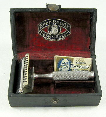 1912–1914 Ever-Ready ASR Safety Razor Set With Blade Cases & Blade American