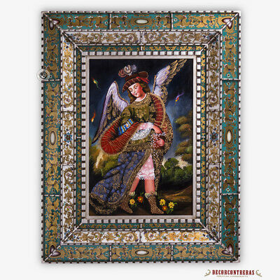 Archangel Uriel, Angel Painting on Wood, Peruvian Hand-painted Art Glass Frame