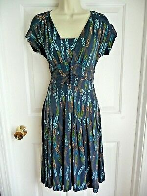 """Talbots Dress 4 P Blue Patterned Pleated Skirt Ruched 39"""" Rayon Stretch Knit WoW"""