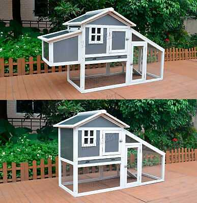 WestWood Wooden Pet Hutch Rabbit Bunny Chicken Coop Shelter House Run Grey White
