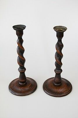 """Pair of Antique English Barley Twist Oak Brass 12.5"""" Candlesticks Candle Holders"""