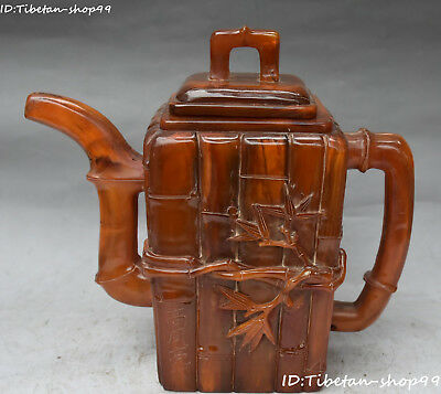 """12"""" Marked China Natural Ox Horn Carving Bamboo Teapot Bottle Flask Pot Statue"""