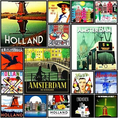 Holland Amsterdam Fridge Magnet Poster Cute Vintage Retro Art City Photo Gift