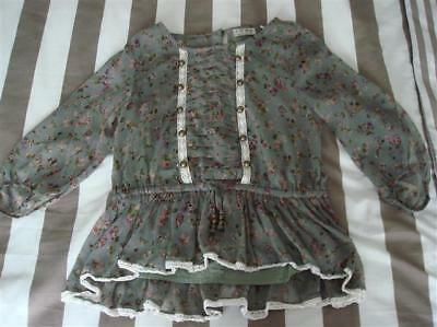 Girls Bnwt Next Khaki Floral Blouse Age 11 Years