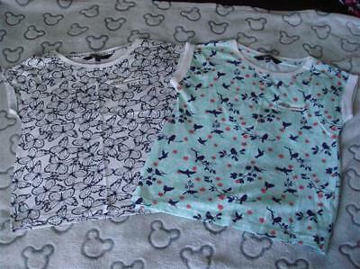 Girls Bnwot New Look Navy Butterfly & Mint Green Bird Tshirts X 2  Aged 10 Years