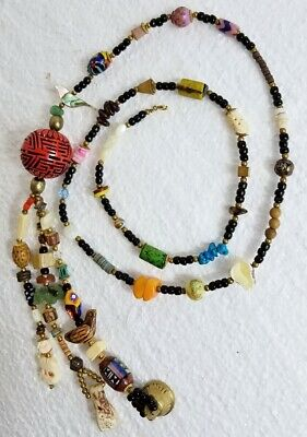 Vint Chinese Court Necklace Carved Figures Pits Hediao Stone Cinnabar Shou Bead