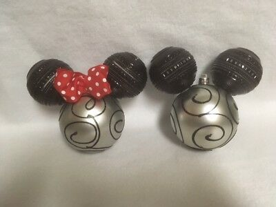 """Black Silver Swirl Mickey & Minnie Mouse Head red bow ornaments is 80mm or 3.14"""""""