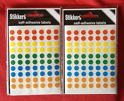 7,840 Self Adhesive 8mm Dots 8 Colours Sticky Circle Labels Stickers Craft