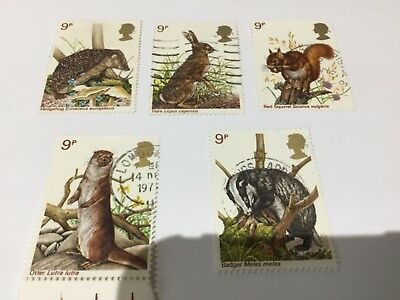 GB 1977 British Wildlife Set of 5 Stamps SG 1039-1043 used