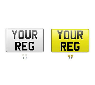 Pair White Yellow Square Show Custom Number Plates NOT Road/MOT Legal Compliant