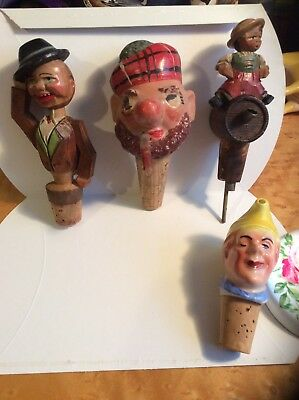 German Wooden Black Forest Antique Bottle Stopper/Pourers 1 Ceramic
