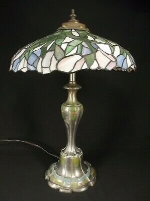 ANTIQUE STAINED GLASS LAMP Tiffany Style Table Double Bulb 20's NOT REPRODUCTION