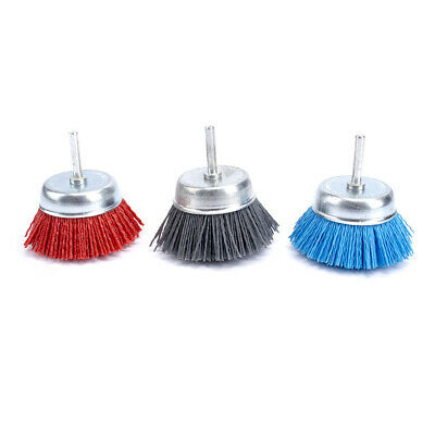 "3Pcs 3""Cup Shaped Abrasive Nylon Wire Polishing Cleaning With 6mm Shank 80~240#"