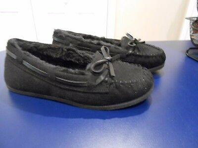 e89c2ad43cfb1 Airwalk Girls Youth Mocassins Slip On black Faux Fur Lined Slippers Size  12.5