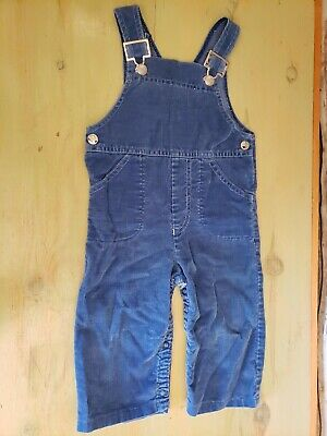 Vintage Carters 1970's/80's Boys Girls Blue Corduroy Bib Overalls 18 mo. USA