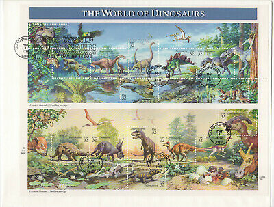 SSS: US Fleetwood Oversize FDC 1997 32c  World of Dinosaurs Souvenir   Sc #3136