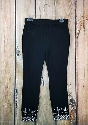 f24a4f7dd62 Gap Skinny Ankle Black With Embroidered Eyelet Scalloped Hem Pants Size 2