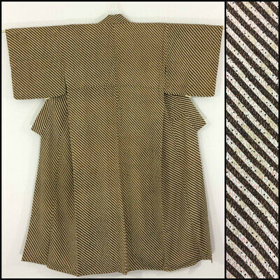 Japanese women's kimono, brown silk, medium, Japan import (AB2360)