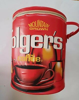Vintage 70s Folgers Coffee Red Insulated Soft Cooler - Tin Shape Cylinder