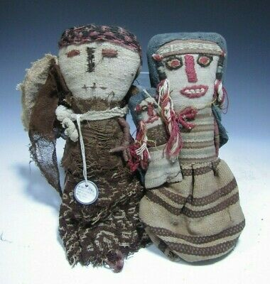 Lot 2 Pre Columbian Central Coast Peru Chancay Textile Doll Figures ca. 1100 AD