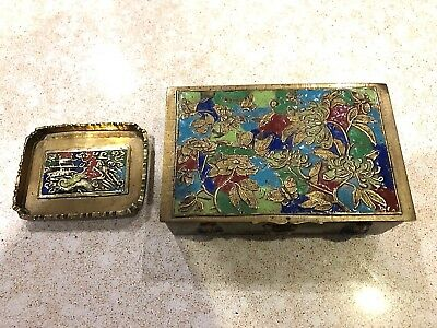 Old Chinese Cloisonne Repousse Enamel Floral Design Box With Tray