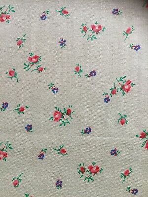 vintage French 1920's green silk cotton rose floral lingerie dressmaking fabric
