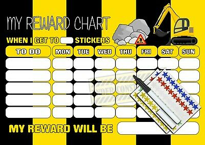 REUSABLE Boys Digger Themed Behaviour Reward Chart MAGNETIC free stickers