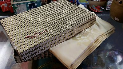 Vtg Table Cloth Cotton Rayon Damask Light Yellows Gold 60X80 Still In Gift Box